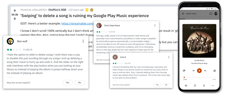 Google Play Music Redesign showing finished mockup and screenshots of poor reviews
