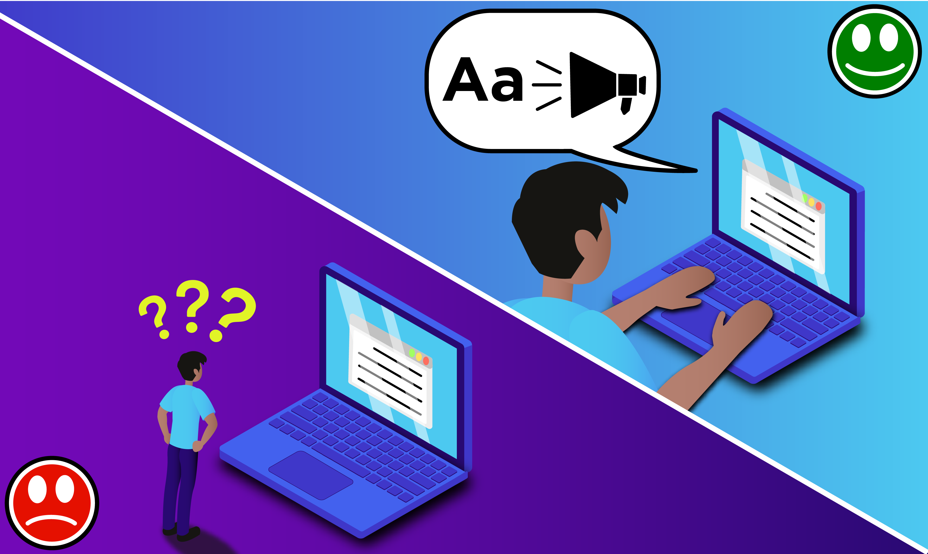 Split screen illustration depicting a confusing screen reader experience on the left and a clear, communicative one on the right.