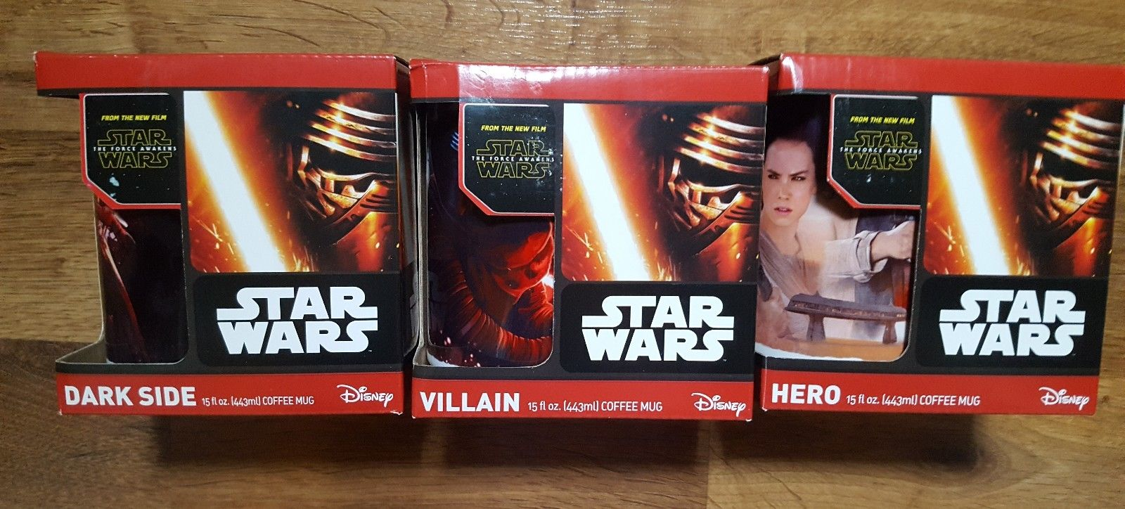 Star Wars The Force Awakens Hero, Villain & Dark Side 3 Mug Lot
