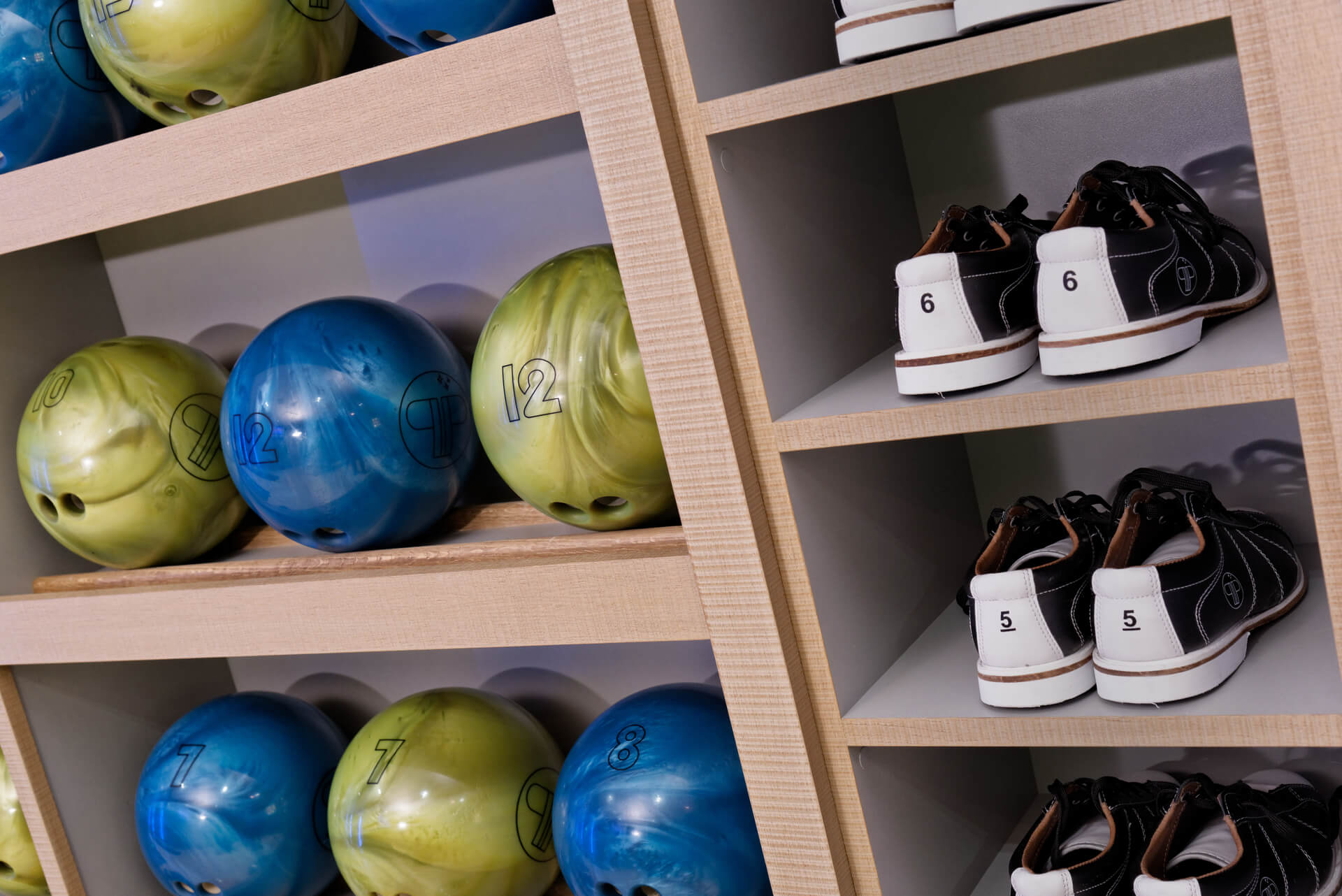 Bowling ball & shoe storage for home bowling alley