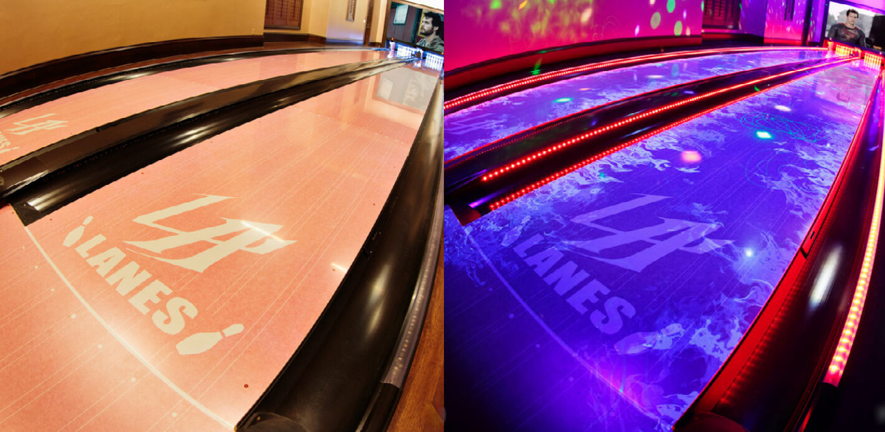 """Before and after images showing the UV """"glow"""" graphics on Brunswick Transform bowling lanes in a home."""