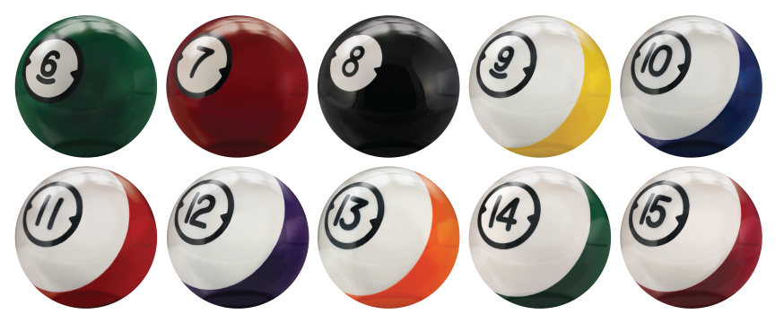 Brunswick house bowling balls in a billiards or pool bowling ball theme.