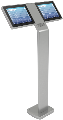 Brunswick Sync scoring tablet touchscreen pedestal in the color gray