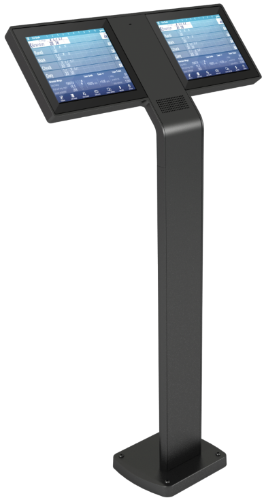 Brunswick Bowling Sync scoring pedstal for touchscreens shown in black.