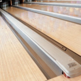 Gray bowling alley capping trim.