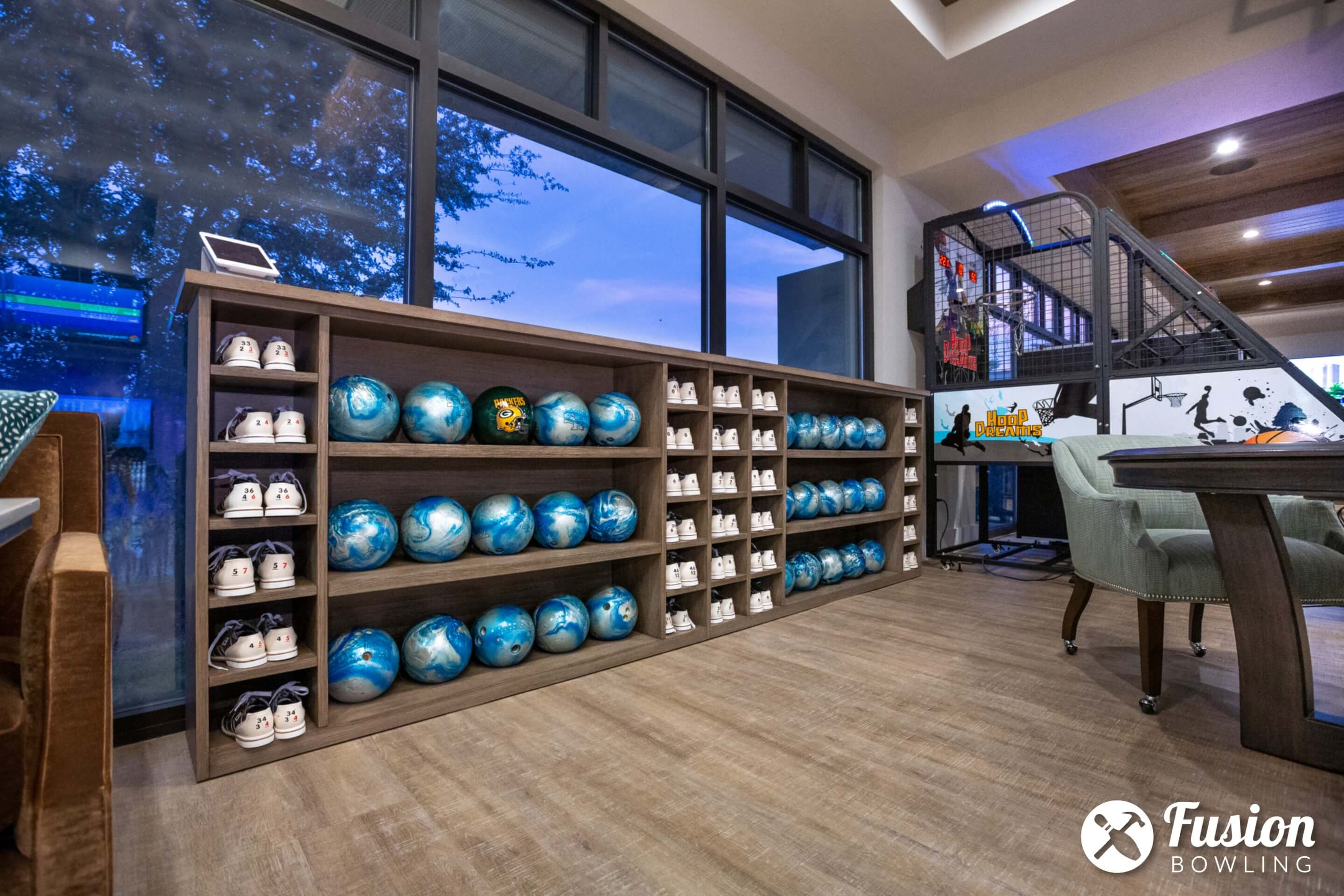 Bowling ball and shoe storage cubby holes.