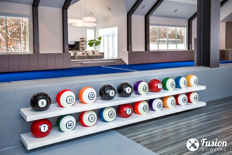 Floating shelf for bowling balls.
