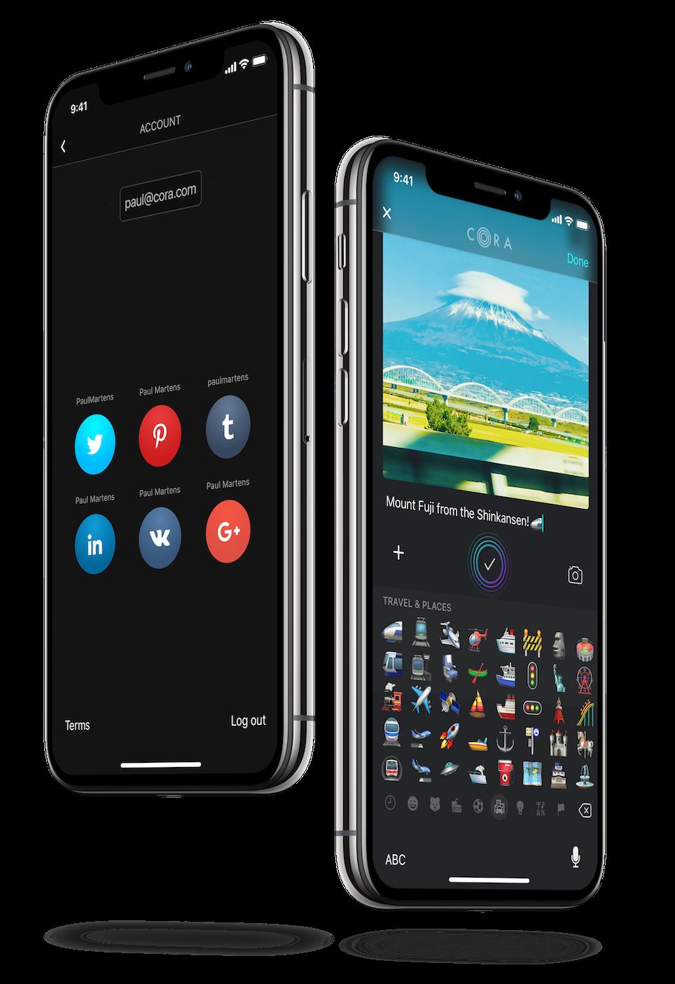 Screenshot of Emoji use in App