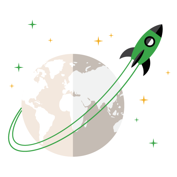 A green rocket orbiting the earth