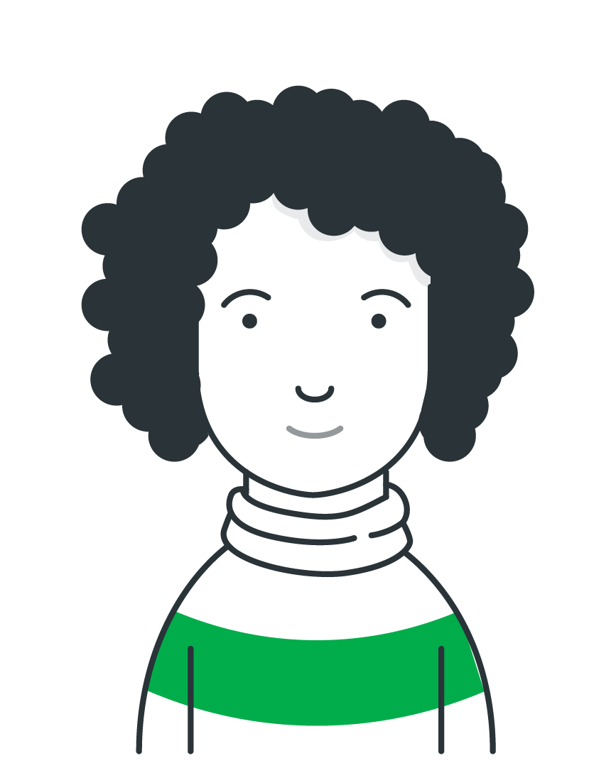 Illustration of a young woman with curly hair.