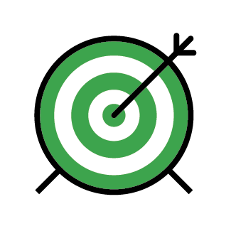 Illustration of a target with an arrow in its centre.