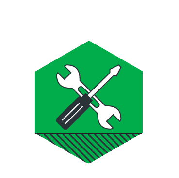 An illustrated hexagonal crest with: a screwdriver and a wrench.