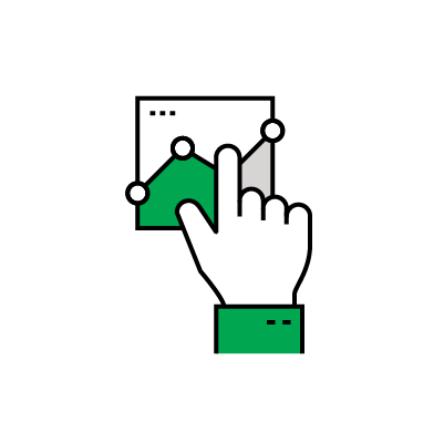 Illustrated icon of a pointing hand on a dot graph.