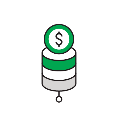 Illustrated icon of a coin on database icon.