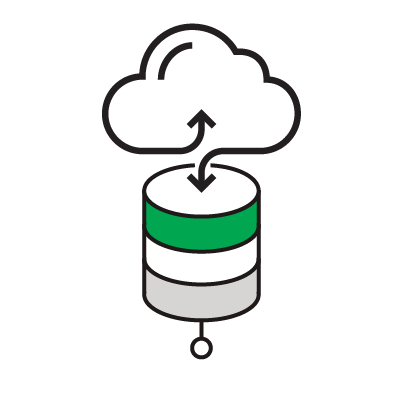 Illustrated icon of a cloud exchanging data with a database icon.