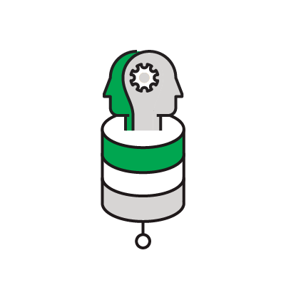 Illustrated icon of two people in profile on database icon.