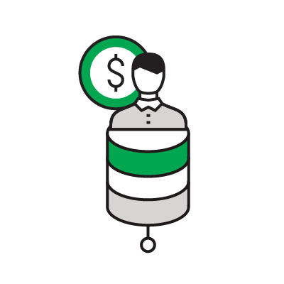 Illustrated icon of a person with a dollar on a database icon.