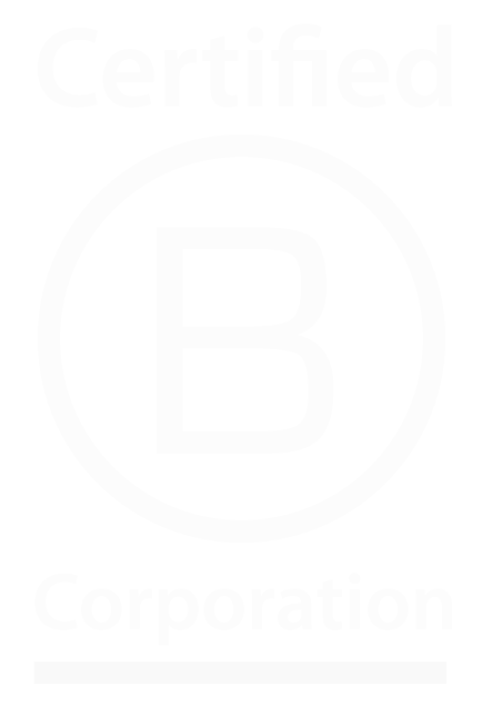 A white B Corp logo, which illustrates our certification