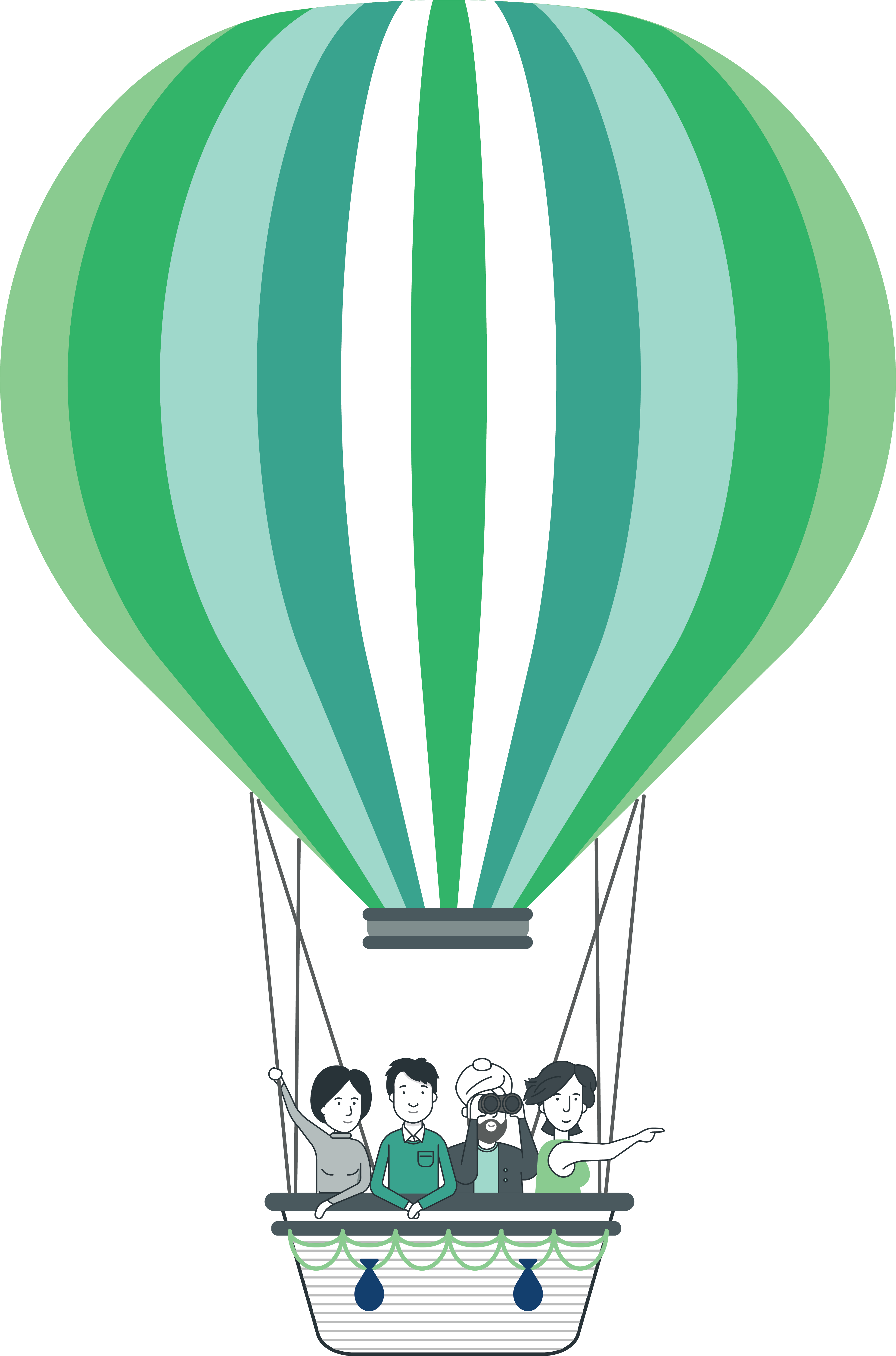 An image of 4 people in a hot air balloon