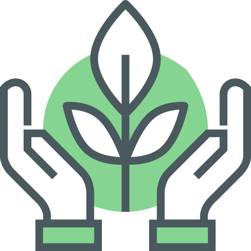 An icon with two hands cupping a plant in front of a green circle