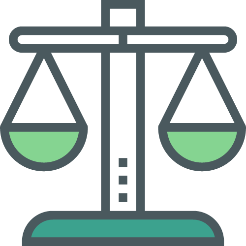 Icon showing two scales in balance