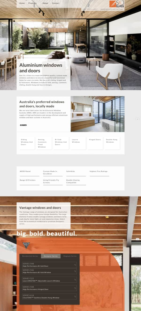 screenshot s & J glass website design