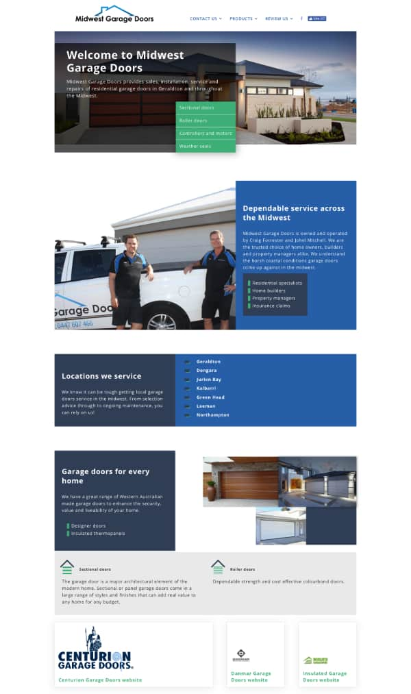 screen shot mid west garage doors website