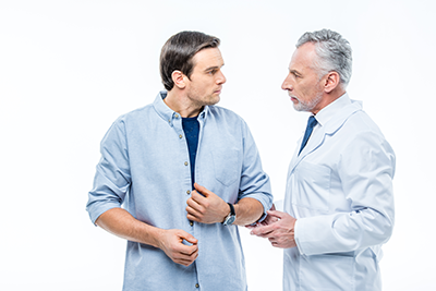 Man seeking help for chronic stress problems