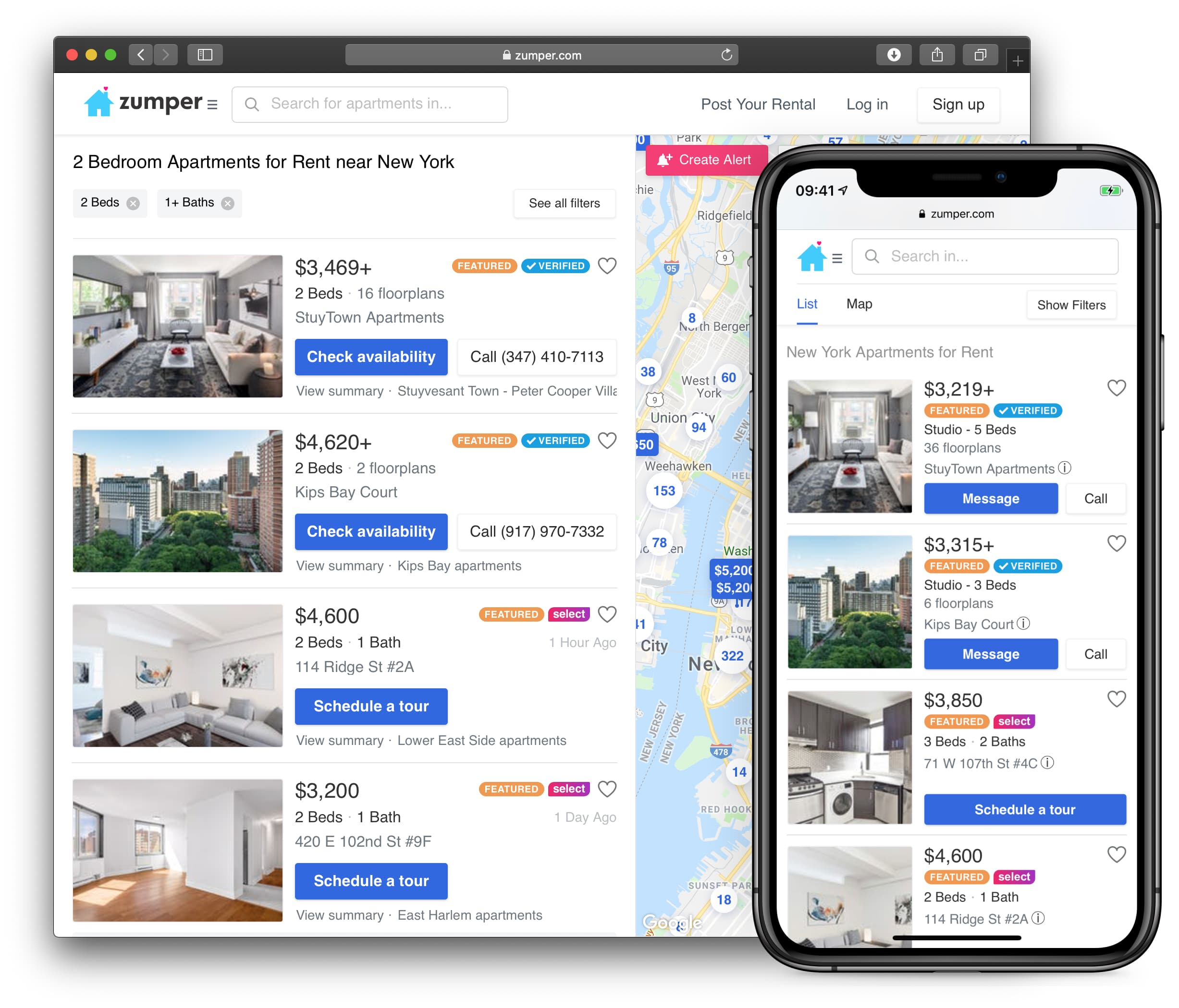 Listings in search results view of Zumper.com
