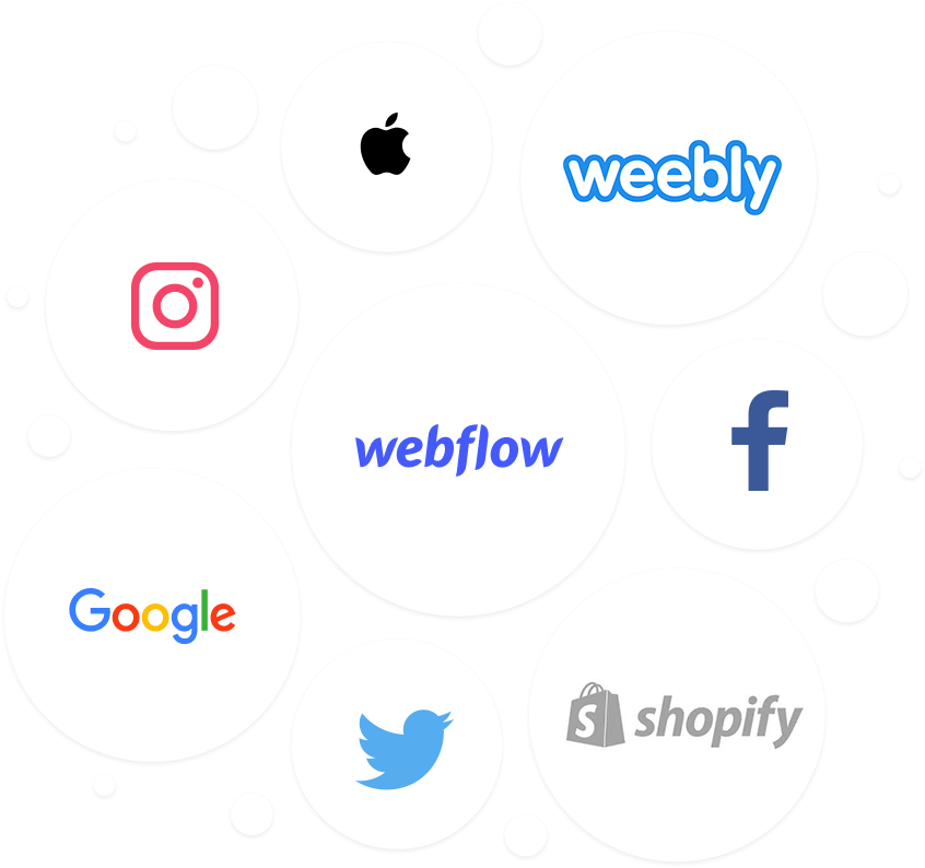 Tools we use include Apple, Instagram, Facebook, Twitter, Weebly, Google, Webflow and Shopify