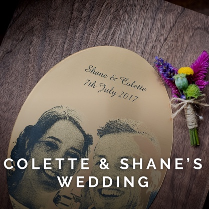 A gorgeous laser engraved wooden box that was created for Colette and Shane on their wedding day.
