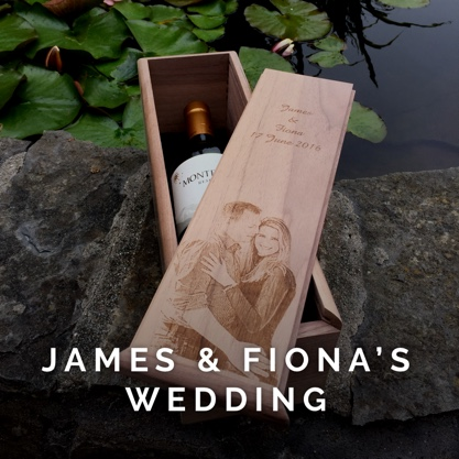 A beautiful handmade wooden box is given as a wedding present to James and Fiona.