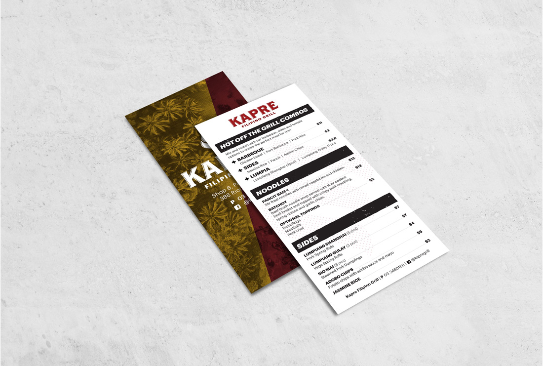 Kapre Filipino Grill Menu design