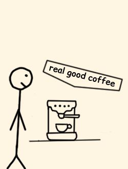 Drawing of a stickman looking at the coffee machine in Puzl CowOrKing and the real good coffee it makes.