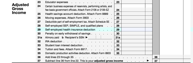 Filling line 29 for self-employed health insurance deduction