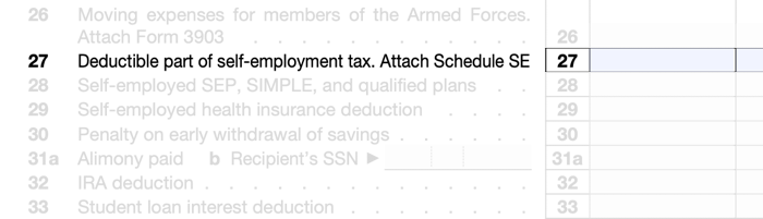 Where To Take It: Line 27 of Schedule 1 of Form 1040. Must complete and attach Schedule SE