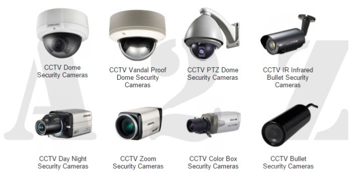 Different types of security cameras used at workplaces