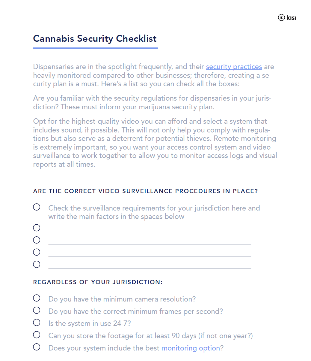 Security Plan for Cannabis Dispensaries + PDF Checklist | Kisi
