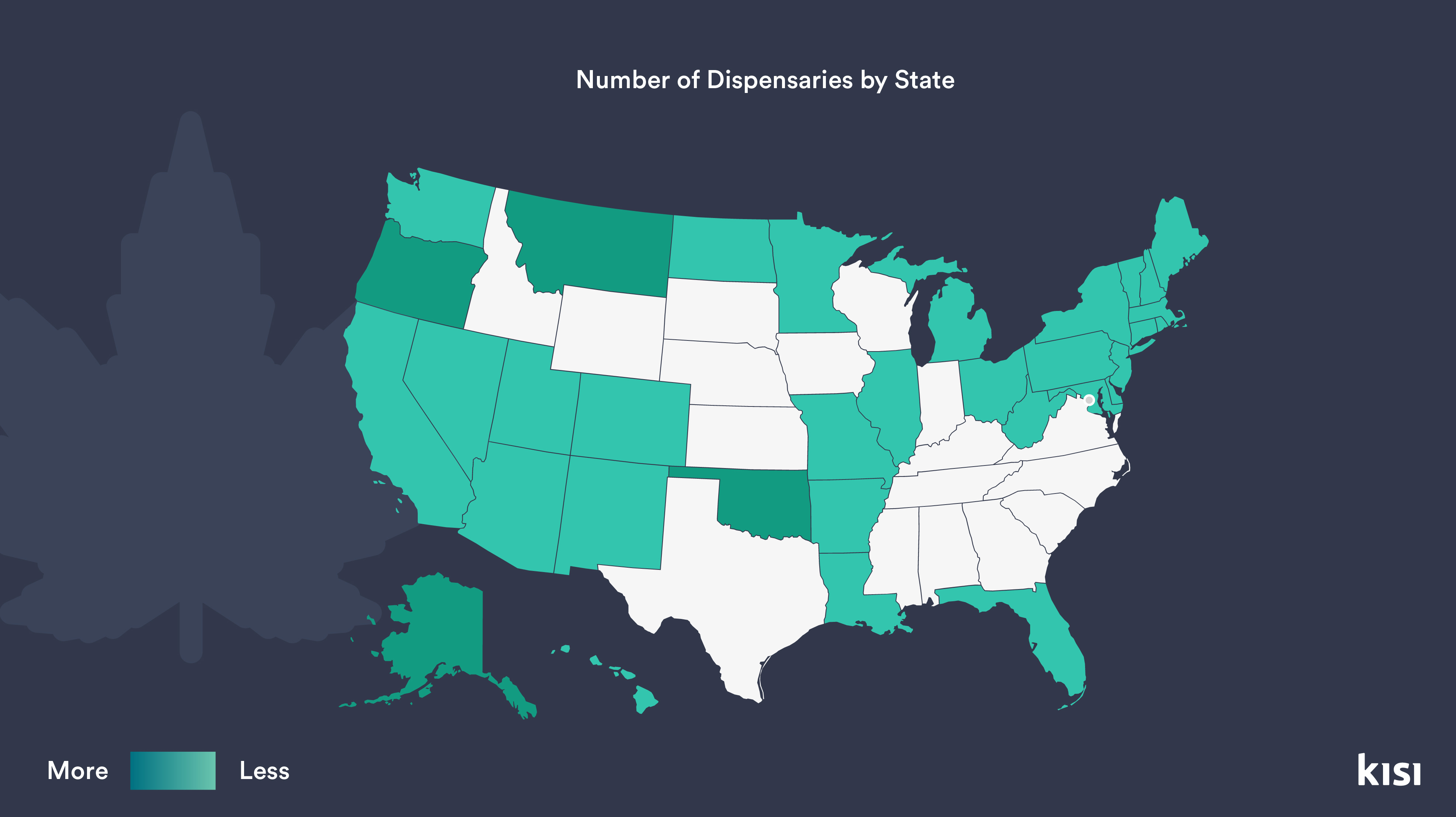 Number of dispensaries by state