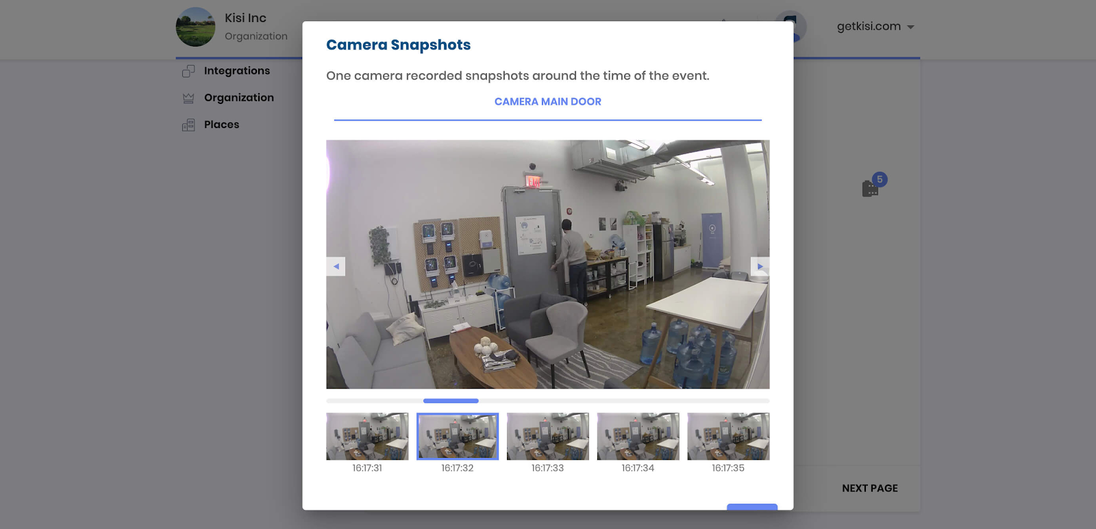 Camera Snapshot from Kisi Dashboard