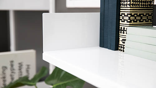 white shelf design with notebooks