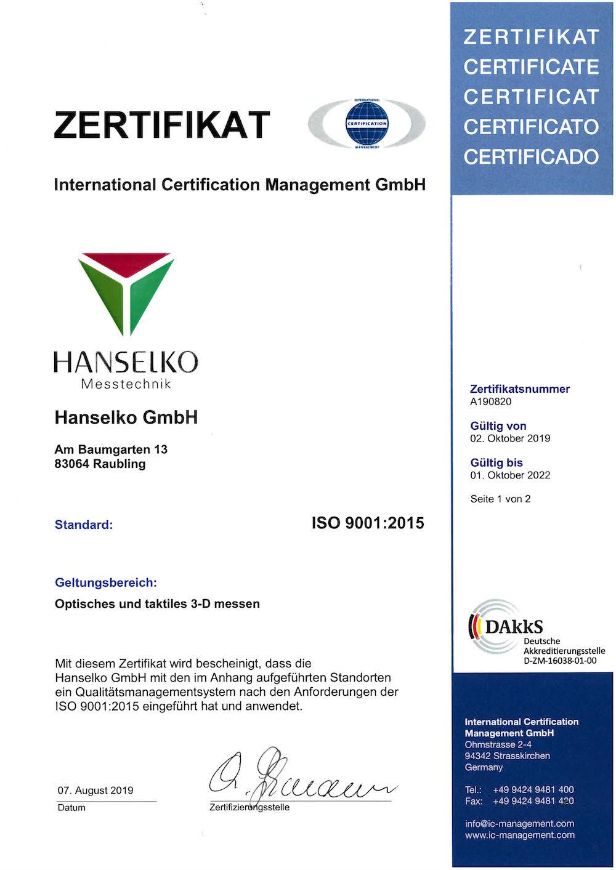 Seite 1 des Zertifikates ISO 9001:2015