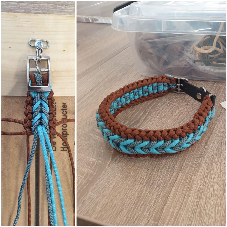 Handgeknoopte halsbanden. Diverse maten en kleuren. Maat S (30-35 cm) - 15 euro /  Maat M (35-40 cm) - 17,50 euro /  Maat L (40-45 cm) - 20 euro /  Maat XL (45-50 cm) - 22,50 euro