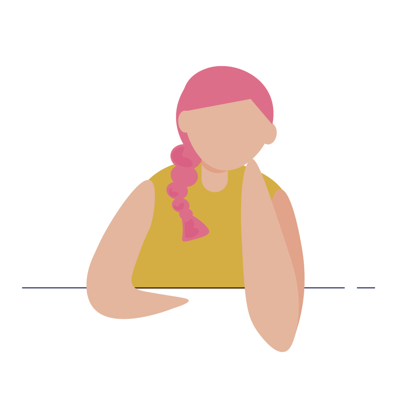 An illustration of a woman with pink braided hair.
