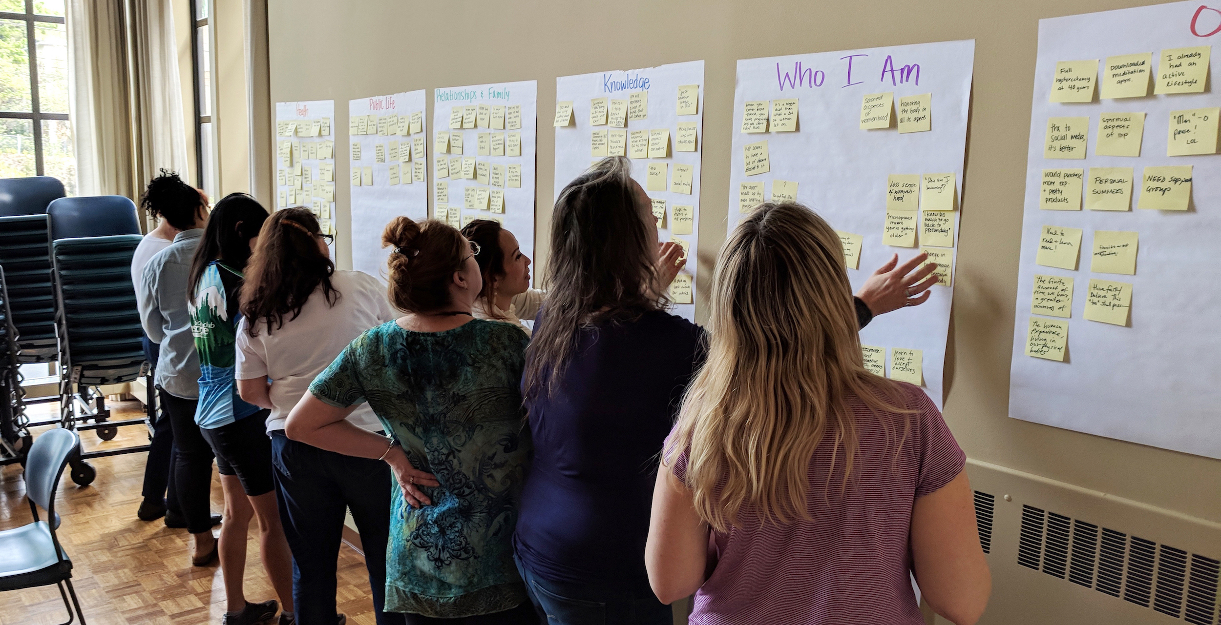 Participants grouping thoughts in an affinity diagram activity.