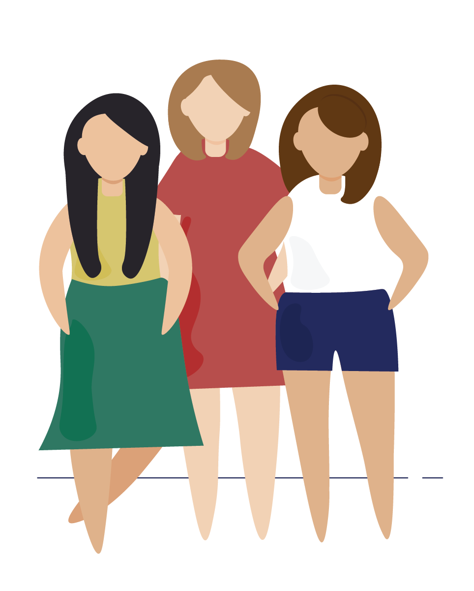 An illustration of three women standing together