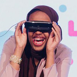 Photo of Rahma wearing eSight