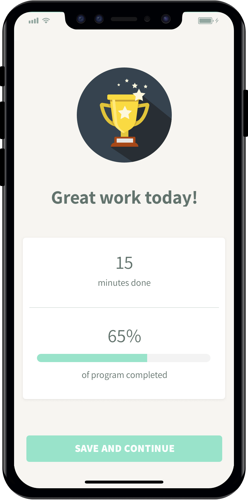 Image of completed workout in physio app