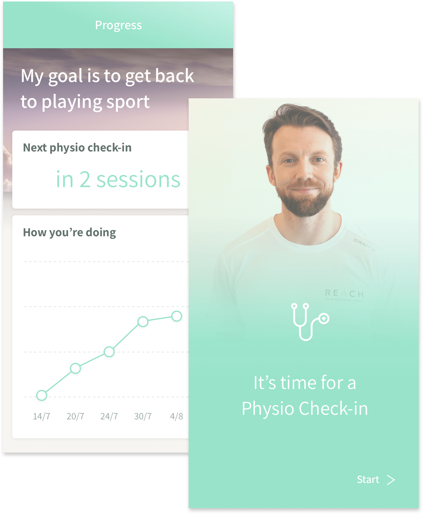 Image of personal goal in reach's physio app