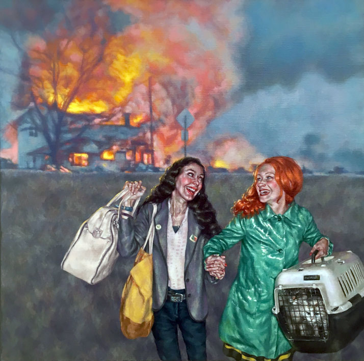 Two men, owners of historic holiday rental,  posing in historic costume.na Halls painting of two women laughing as they escape from a burning home with their possessions.